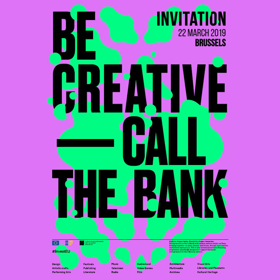 Promotional visual of the seminar Be Creative - Call the bank organised by KEA European Affairs in Brussels in March 2019